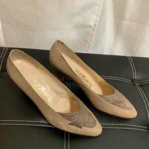 Salvatore Ferragamo Tan Beige Nubuck Leather Pumps